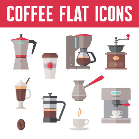 grinder machine: Coffee Icons In Flat Design Style for menu, booklet, website etc