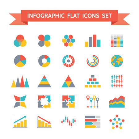 Icons Set di Infografica illustrazione del concetto di Flat Design Archivio Fotografico - 29605493