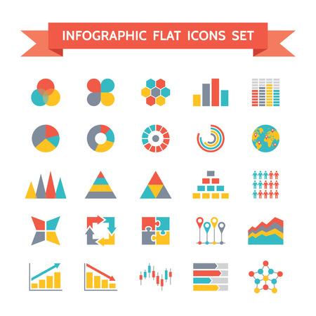 bar graph: Icons Set of Infographic Concept Illustration in Flat Design Illustration