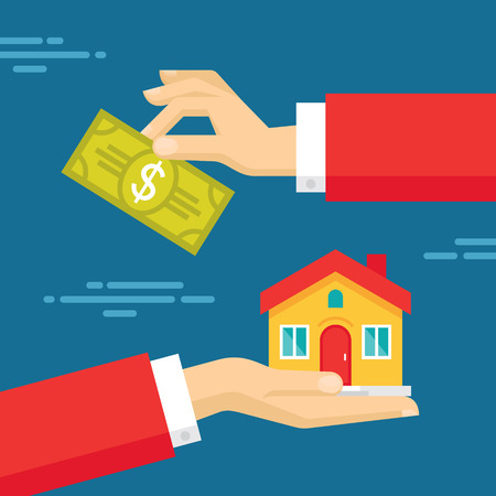 money transfer: Human Hands with Dollar Money and House. Flat style concept design illustration. Real estate concept vector illustration.