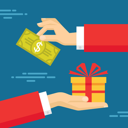 money transfer: Human Hands with Dollar Money and Present Gift. Flat style concept design illustration. Illustration