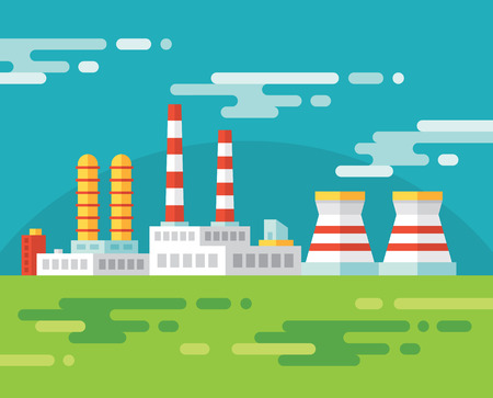 industrial buildings factory: Industrial factory building - vector illustration in flat design style for presentation, infographic, booklet, web site and different design projects. Design element.