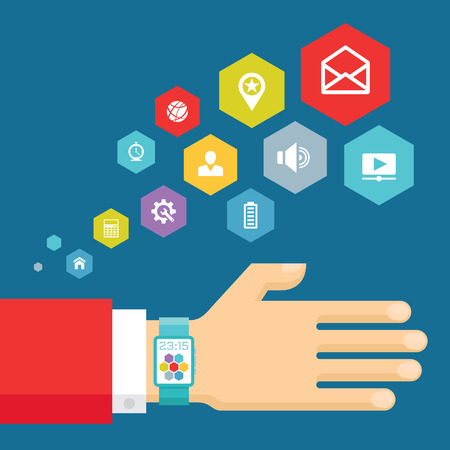 watch: Smart watch with icons - vector concept illustration in modern flat style design. Vector flat illustration of businessman\\