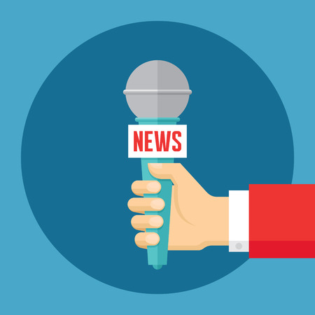 interviewer: News vector concept illustration in flat style design. Journalism concept vector illustration. Press illustration. Human hand with a microphone. Design element.