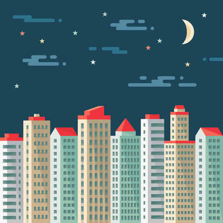 Night cityscape - abstract buildings - vector concept illustration in flat design style. Real estate flat illustration. Architecture megalopolis. Cityscape dark background. Design elements. Imagens - 34604569