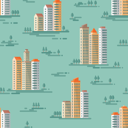 Cityscape - vector background seamless pattern in flat style design. Buildings and trees background. Real estate, cityscape seamless vector pattern background. Vector