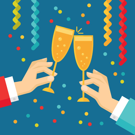 Holiday vector concept illustration in flat style. Human hands with glasses with champagne, streamers and confetti. New year and Christmas flat illustration. Ilustração