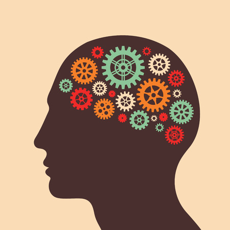 Human head and brain process - vector concept illustration in flat design style for business presentation, brochure, web site and other projects. Human head with gears. Infographic concept.  イラスト・ベクター素材