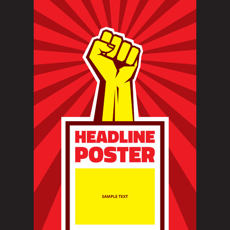 protest poster: Hand Up Proletarian Revolution - Vector Illustration Concept in Soviet Union Agitation Style. Fist of revolution. Vertical poster template. Illustration