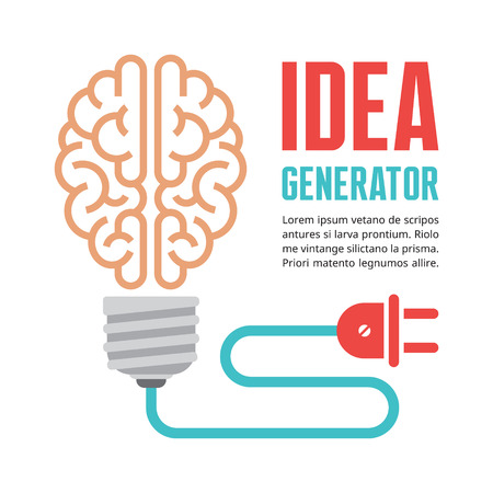 Human brain in light bulb vector illustration. Idea generator - creative infographic concept for presentation, booklet, web site and other design projects. Vector design elements.