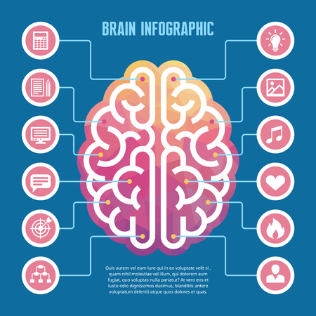 intuition: Brain infographic - vector concept illustration with icons. Left and right human brain vector illustration for presentation, booklet, web site and other projects. Brain infographic template.