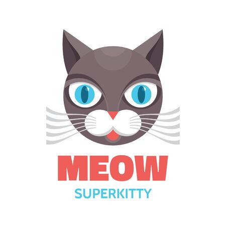 broun: Meow - superkitty - vector concept illustration. Cat animal. Illustration