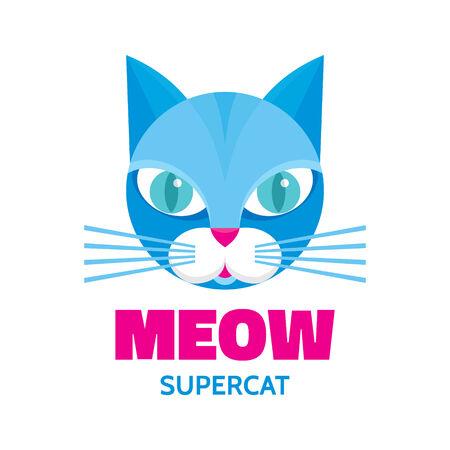 meow: Meow - supercat - vector concept illustration. Blue cat animal.