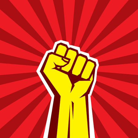 socialism: Hand Up Proletarian Revolution - Vector Illustration Concept in Soviet Union Agitation Style. Fist of revolution. Human hand up. Red background. Design element. Illustration