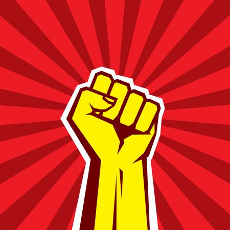 Ręka w górę Rewolucja proletariacka - ilustracji wektorowych Praca w ZSRR Mieszanie stylów. Fist of rewolucji. Ludzka ręka w górę. Czerwone tło. Element projektu.