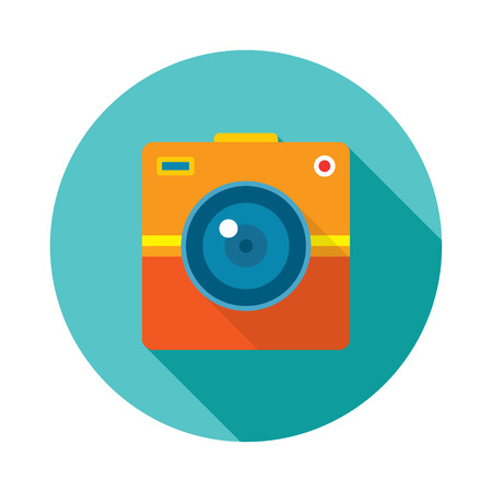 Photo Camera Creative Illustration. Vector icon in flat style design. Ilustração