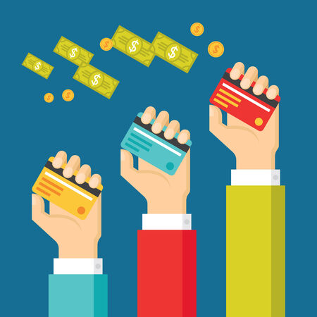 checkout line: Human Hands with Cards and Dollars Money - Concept Illustration with in Flat Design Style for presentation, booklet, website and other design projects. Illustration