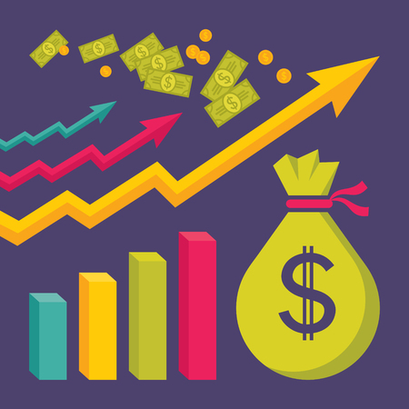 Business Dollar Trend - Vector Illustration in Flat Design Style for presentation, booklet, website etc.