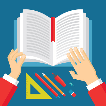 Human Hands and Book - Education Concept Illustration in flat style design. Illustration