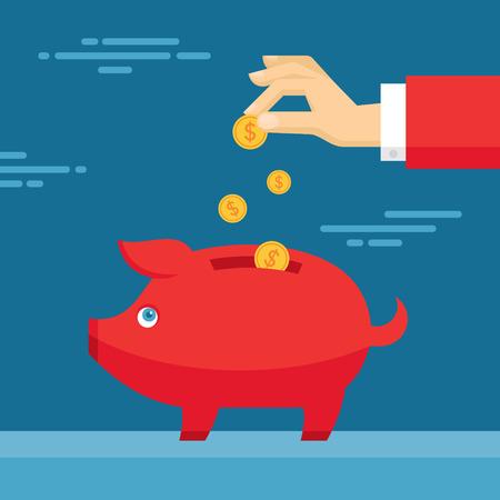 banco dinero: Mano humana y Hucha Piggy. Ilustraci�n de estilo de dise�o plano. Concepto de negocio de Finanzas para su presentaci�n, folleto, p�gina web, etc. Vectores