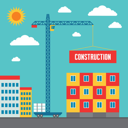 site: Construction of Building - Concept Vector Illustration in Flat Style Design for creative design projects. Real estate concept illustration. Illustration