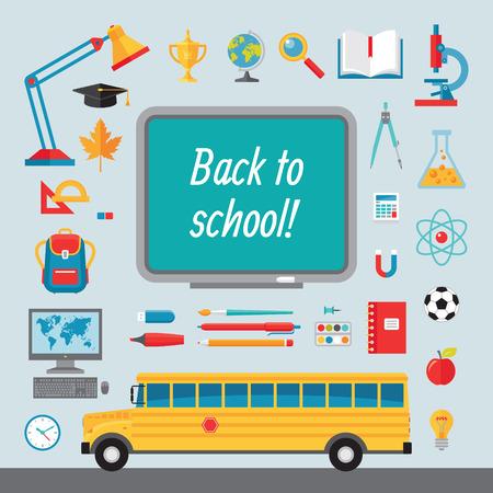 autobus escolar: Volver a la escuela - conjunto de iconos del vector en estilo plano para proyectos de diseño creativo. Colección de ilustraciones de vectores en el tema de volver a la escuela. Vectores