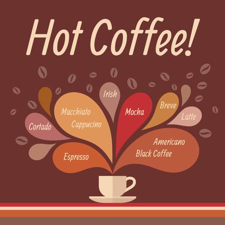 cappucino: Hot Coffee - Conceptuele Vector Illustratie voor creatief ontwerp projecten. Stock Illustratie