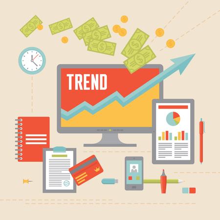 Business Trend Illustration in Flat Design Style for presentation, booklet, web site etc. Vector