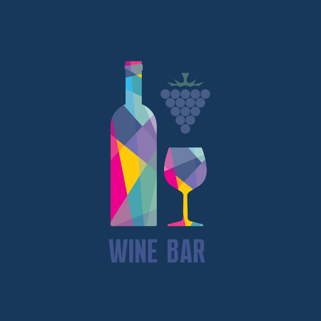 wine trade: Wine Bottle and Glass - Abstract Illustration for creative design projects.