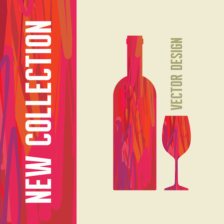 creativy: Wine Bottle and Glass - Abstract Illustration for creative design projects.