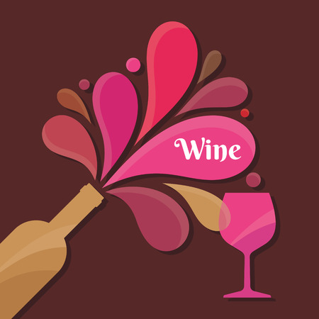creativy: Wine Bottle and Glass - Vector Illustration for creative design projects. Illustration