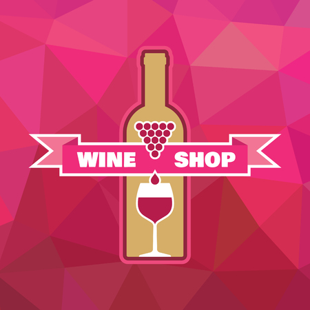 Wine Bottle and Glass with Ribbon - Illustration for creative design projects.