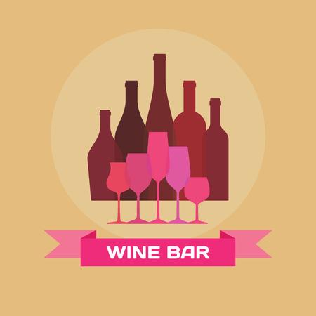 Wine Bottles and Glasses - Illustration for creative design projects. Illustration