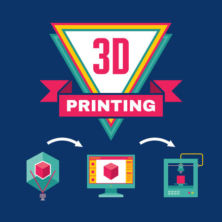 3D Printing Process - Creative Vector Illustration for presentation, booklet, web blog etc. Vector