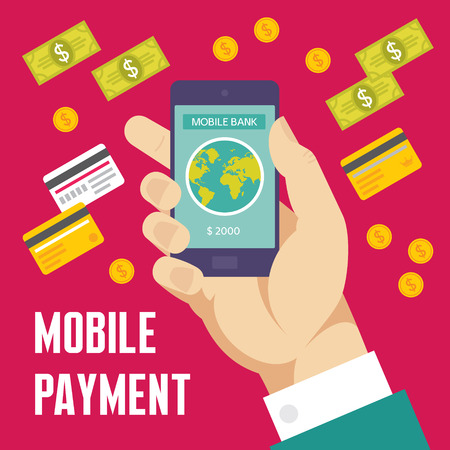 checkout line: Mobile Payment Creative Illustration - Business Concept in Flat Design Style for presentation, booklet, web site etc.
