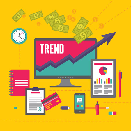 Business Trend Illustration in Flat Design Style for presentation, booklet, web site etc. Imagens - 34898170