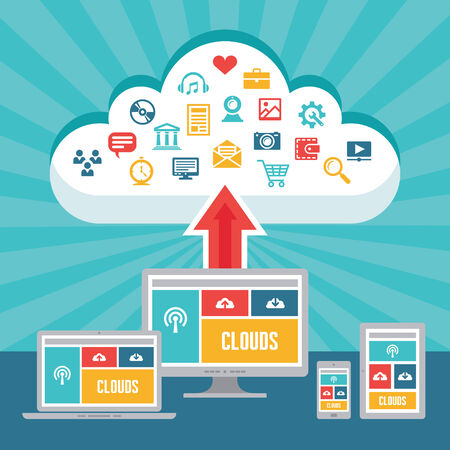 adaptive: Clouds Network and Responsive Adaptive Web Design with Vector Icons - digital devices in flat design style for presentation, booklet, web site etc. Illustration