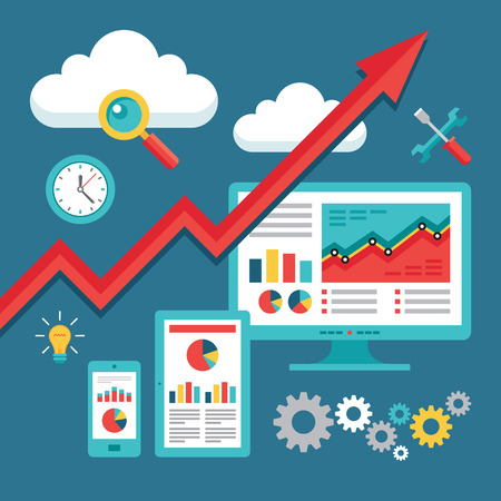 SEO (Search Engine Optimization) Programmeren - Business-Up-Trend - Vector Illustratie voor presentatie, brochure, website etc.