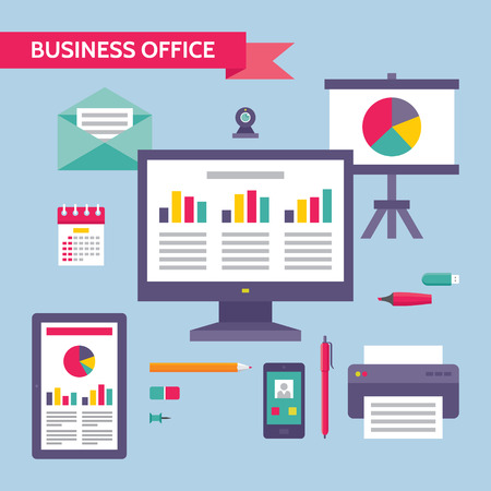 Business Office - Vector Concept Illustration in Flat Design Style for presentation, booklet, web site etc. Illustration