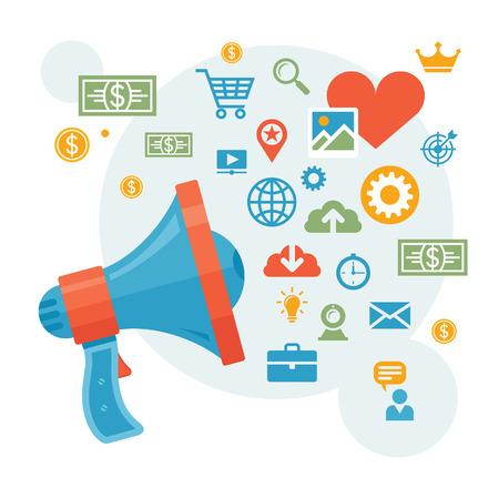 Digital Marketing & Advertising - Loudspeaker Concept Vector Illustration for Creative Design Works