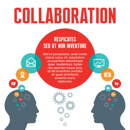 medium group of people: Collaboration - Vector Concept Illustration with Human Heads