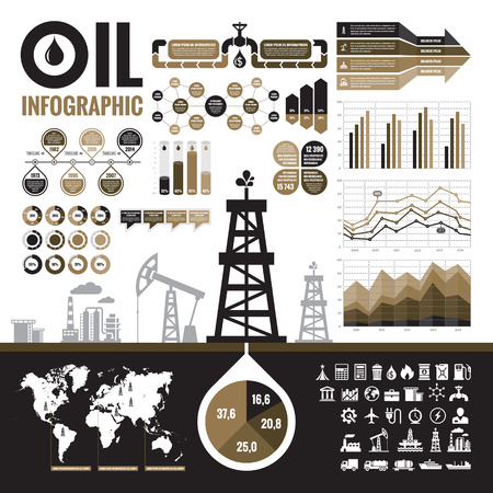 industry: Oil industry - vector infographic elements for presentation, booklet and other design project. Production, transportation and refining of oil - infographic vector set. Included 32 vector icons.