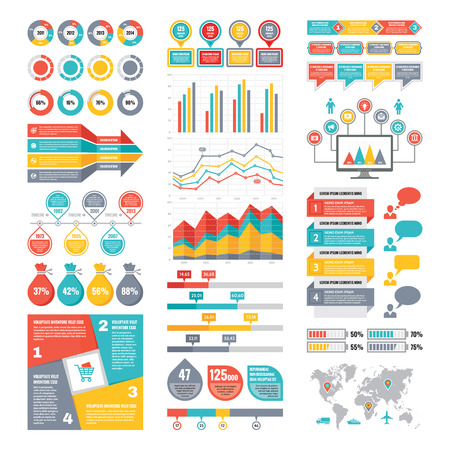 with sets of elements: Infographic Elements Collection - Business Vector Illustration in flat design style for presentation, booklet, website etc. Big set of Infographics.