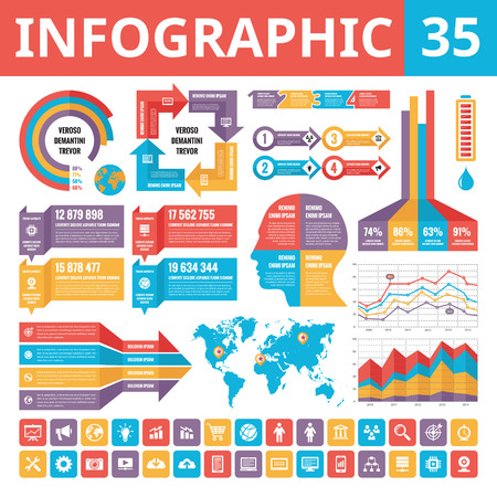 Infographic elements 35. Set of vector design elements in flat style for business presentation, booklet, web site and other projects. Infographic templates. Included 30 vector icons. Illustration