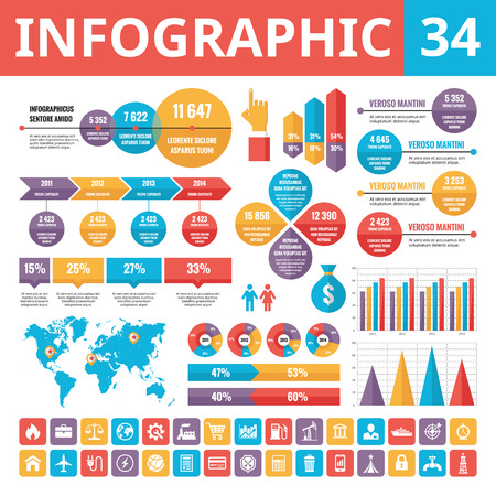 34: Infographic elements 34. Set of vector design elements in flat style for business presentation, booklet, web site and other projects. Infographic templates. Included 33 vector icons.