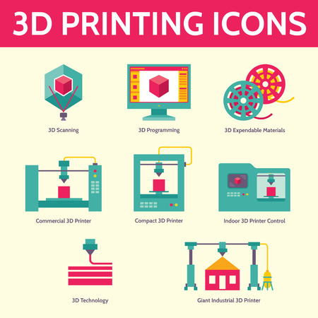 3D print vector icons in flat design style for presentation, booklet, web site etc. 3D printing. 3D printer. Creative vector illustration.