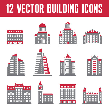 symbols commercial: 12 Vector Building Icons - Real Estate Signs Collection - creative illustration for presentation, booklet, web site etc. Illustration