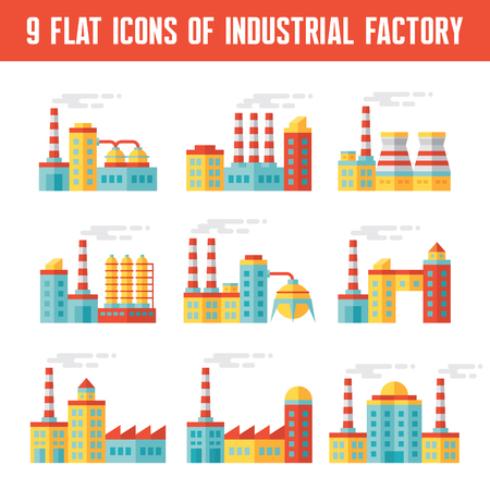 factory: Industrial factory buildings - 9 vector icons in flat design style for presentation, infographic, booklet, web site and different design projects. Factory icons set. Design and infographic element.
