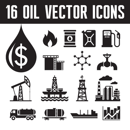 derrick: 16 oil industry vector icons for infographic, business presentation, booklet and different design project. Production, transportation and refining of oil - vector icons set.