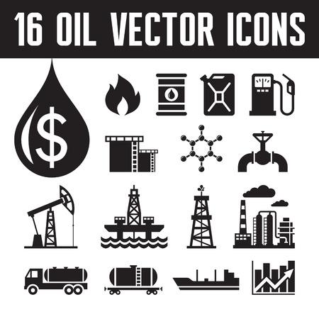 torres petroleras: Iconos vectoriales industria de petr�leo para 16 infograf�a, presentaci�n de negocios, folletos y diferente proyecto de dise�o. Producci�n, transporte y refinaci�n de petr�leo - iconos conjunto de vectores.